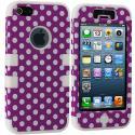 Apple iPhone 5/5S/SE Purple Polka Dot / White Hybrid Tuff Hard/Soft 3-Piece Case Cover Angle 2