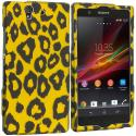 Sony Xperia Z Black Leopard on Golden 2D Hard Rubberized Design Case Cover Angle 1