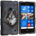 Nokia Lumia 521 Wolf 2D Hard Rubberized Design Case Cover Angle 1