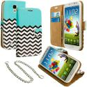 Samsung Galaxy S4 Mint Green Zebra Leather Wallet Pouch Case Cover with Slots Angle 1