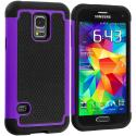 Samsung Galaxy S5 Mini G800 Black / Purple Hybrid Rugged Grip Shockproof Case Cover Angle 1