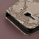 Alcatel OneTouch Evolve 2 - Black Lace MPERO FLEX FLIP Wallet Case Cover Angle 7