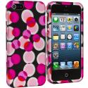 Apple iPhone 5/5S/SE Hot Pink Bubbles Hard Rubberized Design Case Cover Angle 2