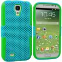 Samsung Galaxy S4 Neon Green / Baby Blue Hybrid Mesh Hard/Soft Case Cover Angle 1
