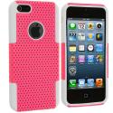 Apple iPhone 5/5S/SE White / Light Pink Hybrid Mesh Hard/Soft Case Cover Angle 2
