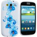 Samsung Galaxy S3 Blue White Flower TPU Design Soft Case Cover Angle 2