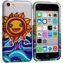 Apple iPhone 5C Sunrise on the Sea Hard Rubberized Design Case Cover Angle 1