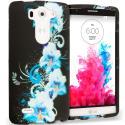 LG G3 Vigor D725 G3s Blue Flowers 2D Hard Rubberized Design Case Cover Angle 1