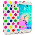 Samsung Galaxy S6 White / Colorful TPU Polka Dot Skin Case Cover Angle 1