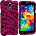 Samsung Galaxy S5 Hot Pink Zebra Bling Rhinestone Case Cover Angle 2