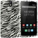 OnePlus One Black White Zebra TPU Design Soft Rubber Case Cover Angle 1