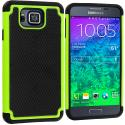 Samsung Galaxy Alpha G850 Black / Neon Green Hybrid Rugged Grip Shockproof Case Cover Angle 1