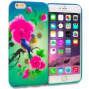 Apple iPhone 6 Plus 6S Plus (5.5) Blue Bird Pink Flower TPU Design Soft Rubber Case Cover Angle 1