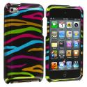 Apple iPod Touch 4th Generation Rainbow Zebra on Black Design Crystal Hard Case Cover Angle 1