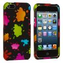 Apple iPhone 5/5S/SE Colorful Splash Hard Rubberized Design Case Cover Angle 1