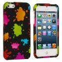 Apple iPhone 5/5S/SE Colorful Splash Hard Rubberized Design Case Cover Angle 2