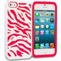 Apple iPhone 5/5S/SE Red / White Hybrid Zebra Hard/Soft Case Cover Angle 1