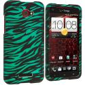 HTC Droid DNA Black / Baby Blue Zebra Hard Rubberized Design Case Cover Angle 1