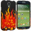 Samsung Galaxy S4 Red Flame Hard Rubberized Design Case Cover Angle 2
