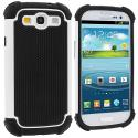 Samsung Galaxy S3 White Hybrid Rugged Hard/Soft Case Cover Angle 1