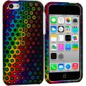 Apple iPhone 5C Rainbow Dots Hard Rubberized Design Case Cover Angle 1