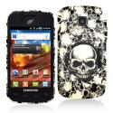 Samsung Proclaim S720C Black White Skulls Hard Rubberized Design Case Cover Angle 1