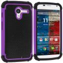 Motorola Moto X Black / Purple Hybrid Rugged Hard/Soft Case Cover Angle 1