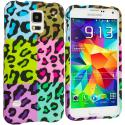 Samsung Galaxy S5 Splicing Grid Leopard Hard Rubberized Design Case Cover Angle 1