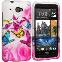 HTC Desire 601 Pink Colorful Butterfly 2D Hard Rubberized Design Case Cover Angle 1