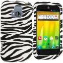 ZTE Radiant Black / White Zebra Hard Rubberized Design Case Cover Angle 1