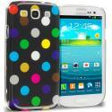 Samsung Galaxy S3 Black / Colorful Polka Dot Crystal Hard Back Cover Case Angle 1