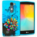 LG Escape 2 Logos Spirit LTE Blue Butterfly Flower TPU Design Soft Rubber Case Cover Angle 1