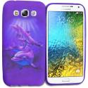 Samsung Galaxy E5 S978L Purple Dolphin TPU Design Soft Rubber Case Cover Angle 1