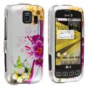 LG Optimus S LS670 / U / V Purple Flower Chain Design Crystal Hard Case Cover Angle 1