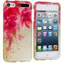 Apple iPod Touch 5th 6th Generation Flowers with Red Leaf Hard Rubberized Design Case Cover Angle 1