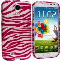 Samsung Galaxy S4 Pink / White Zebra Hard Rubberized Design Case Cover Angle 1