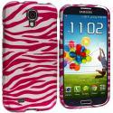 Samsung Galaxy S4 Pink / White Zebra Hard Rubberized Design Case Cover Angle 2