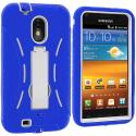 Samsung Epic Touch 4G D710 Sprint Galaxy S2 Blue / White Hybrid Heavy Duty Hard/Soft Case Cover with Stand Angle 3