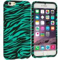 Apple iPhone 6 6S (4.7) Black/Baby Blue Zebra TPU Design Soft Case Cover Angle 1