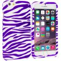 Apple iPhone 6 6S (4.7) Purple / White Zebra Hard Rubberized Design Case Cover Angle 1
