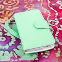 HTC One Mini - Mint-White MPERO FLEX FLIP Wallet Case Cover Angle 2