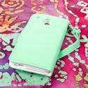 HTC One Mini - Mint-White MPERO FLEX FLIP Wallet Case Cover Angle 3