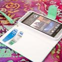 HTC One Mini - Mint-White MPERO FLEX FLIP Wallet Case Cover Angle 4