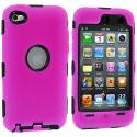 Apple iPod Touch 4th Generation Hot Pink Deluxe Hybrid Deluxe Hard/Soft Case Cover Angle 1