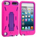Apple iPod Touch 5th 6th Generation Hot Pink / Purple Hybrid Heavy Duty Hard/Soft Case Cover with Stand Angle 2