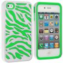 Apple iPhone 4 / 4S Green / White Hybrid Zebra Hard/Soft Case Cover Angle 1