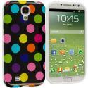Samsung Galaxy S4 Black / Colorful TPU Polka Dot Skin Case Cover Angle 1