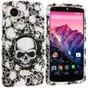 LG Google Nexus 5 Black White Skulls Hard Rubberized Design Case Cover Angle 1