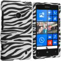Nokia Lumia 521 Black/White Zebra Hard Rubberized Design Case Cover Angle 1