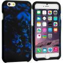 Apple iPhone 6 6S (4.7) Black Blue Skull 2D Hard Rubberized Design Case Cover Angle 1